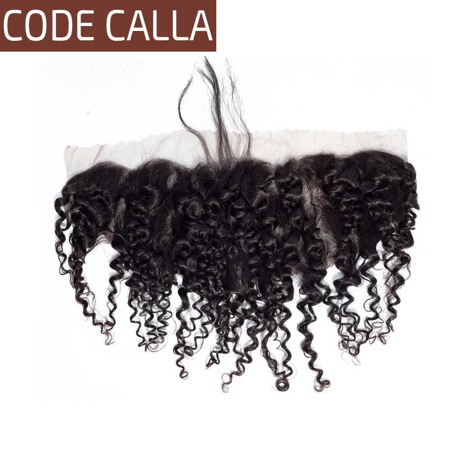 Código Calla brasileño Afro rizado 13*4 de oreja a oreja Frontal de encaje parte libre de la Virgen del pelo humano densidad 130% envío gratis