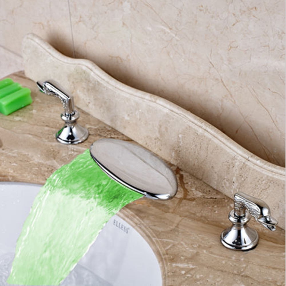 LED Waterfall Bathroom Basin Faucet Tub Faucet Mixer Tap Widespread Face Tap infos bathroom led waterfall water tap