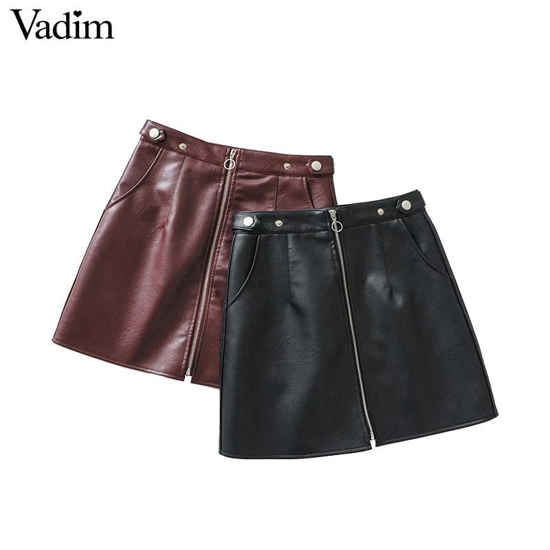 Vadim Women PU Leather Black Burgundy Mini Skirts Pockets Zipper Fly Faldas Mujer Solid Female Chic A Line Skirts BA366