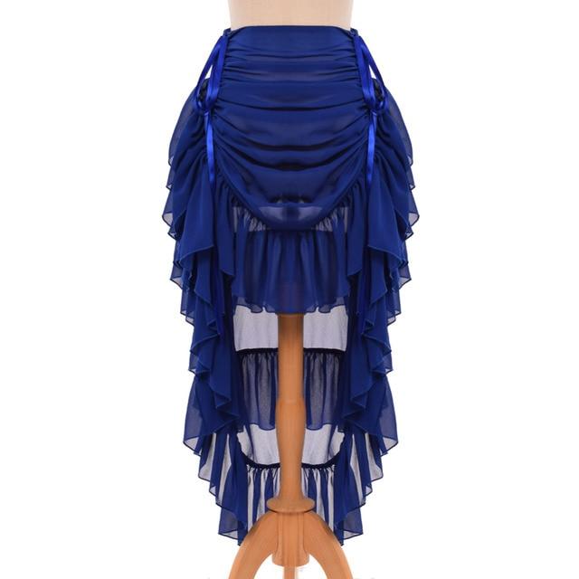 5f2cbe3e95 Chiffon Bustle Skirt Women Gothic Vintage Victorian Steampunk Adjustable  Asymmetrical Ruffle Overskirt