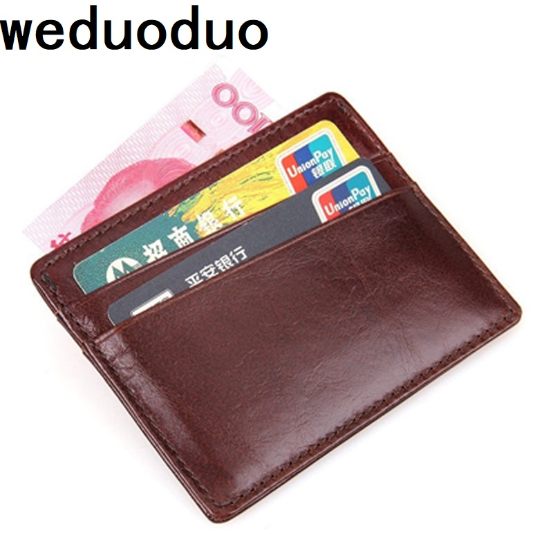 weduoduo Brand Card Holder Portable Cow Leather Credit Card Holders Bank Card Organizer Wallet Vintage Mini Coin Pocket Classic