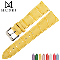 MAIKES akcesoria do zegarków skórzany pasek do zegarków nowy żółty opaski do zegarka Alligator wzór bransoletka dla dw daniel wellington w Paski do zegarków od Zegarki na