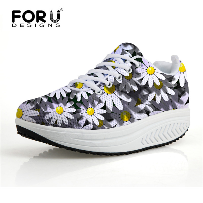 FORUDESIGNS  Flower Casual Shoes for Women,Swing Rocking Shoes Womens Platform Wedge Shoes,Woman Walking chaussures femmes