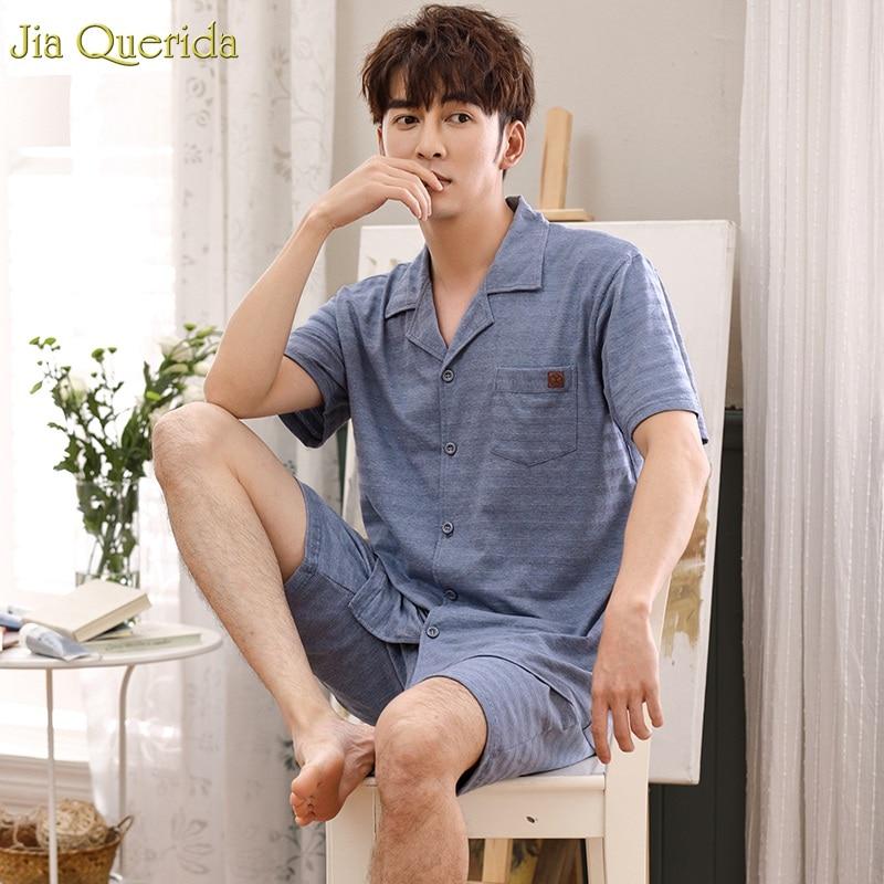 Plus Size Xxxl Pajamas 2019 Summer Short Sleeves Lapel Cardigan Button Men Leisure Home Suits 100% Cotton Clothes Sleepwear Men