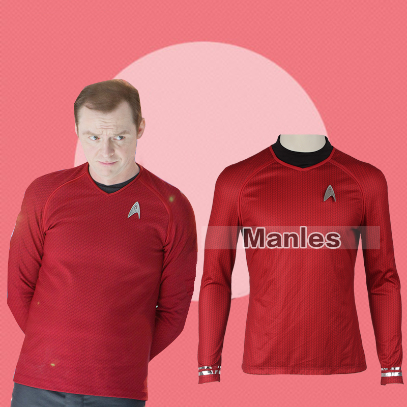 Star Trek Into Darkness Scotty Shirt Uniform Costume Red Version Star Trek Montgomery/Pavel Chekov  Uniform Adult Men Shirt