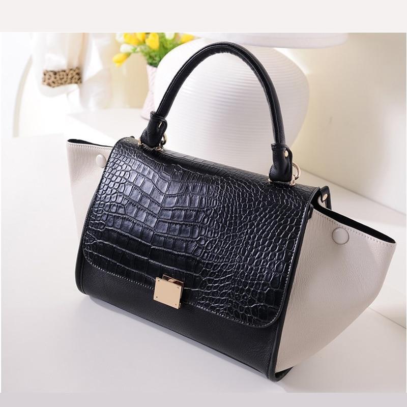 ФОТО Hot Sale 2016 Fashion Designer Smiley Bag Sac Femme Trapeze Bag Crocodile Women's Leather Handbags Lady Pu Tote Bag Shoulder Bag