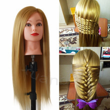 "26"" Long Blonde Hair Training Head Nice Hairdressing Head Manikin Smooth Wig Head Dolls Thick Hair Hairdresser Mannequin Head(China)"