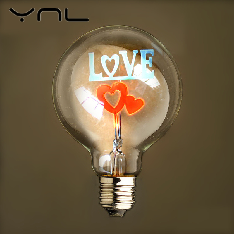 Vintage Edison light Bulb G80 E27 Flamingo Christmas Flowers Love Rose I Love You Holiday lights indoor Retro lamp Wedding light