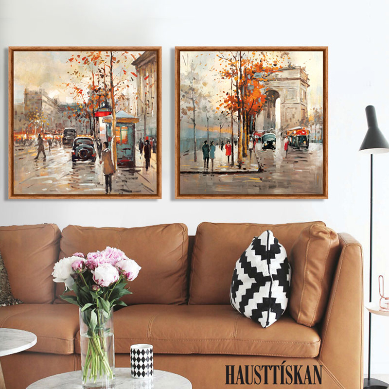 Décoration Murale Paris Paris France Street Scenery Hand Painted Canvas Print