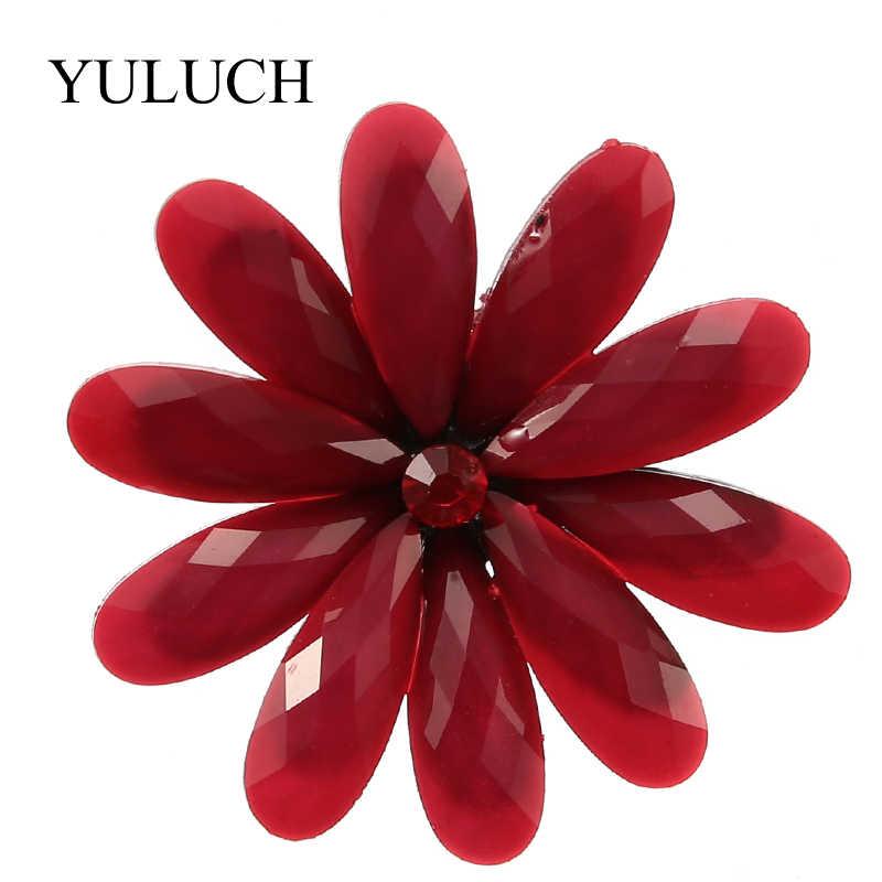 Yuluch 2018 Baru 6 Warna Resin Bros Besar Bunga Bros untuk Wanita Fashion Perhiasan Heandmade Bros