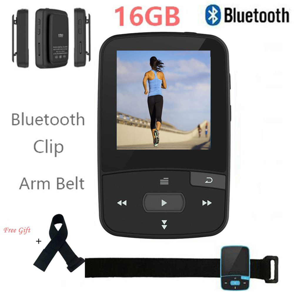 Clip Bluetooth mp3 Player RUIZU X50 Lossless Music Player with FM Radio Pedo Meter support up to 64 GB TF Card + free arm band