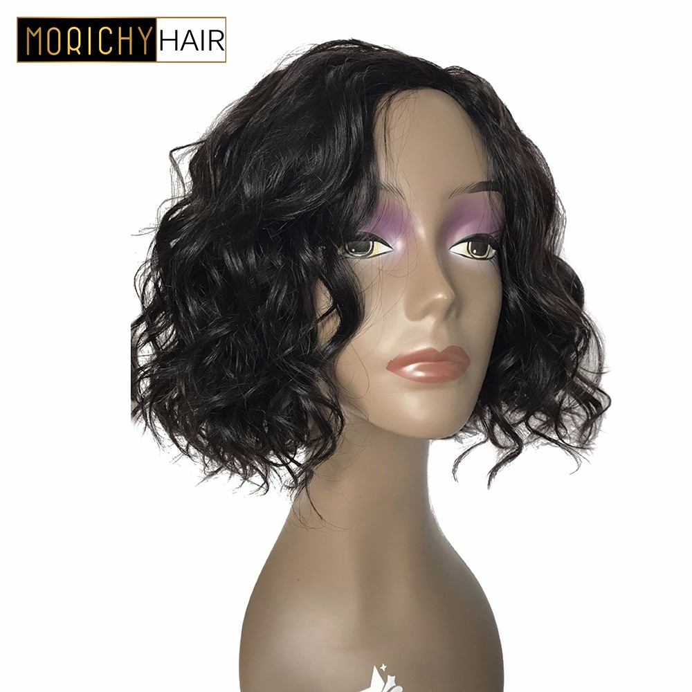 Morichy Short Bob Loose Wave Wigs Human Hair Wig Brazilian Machine Made Wigs For Black Woman Non Remy Natural Black Color