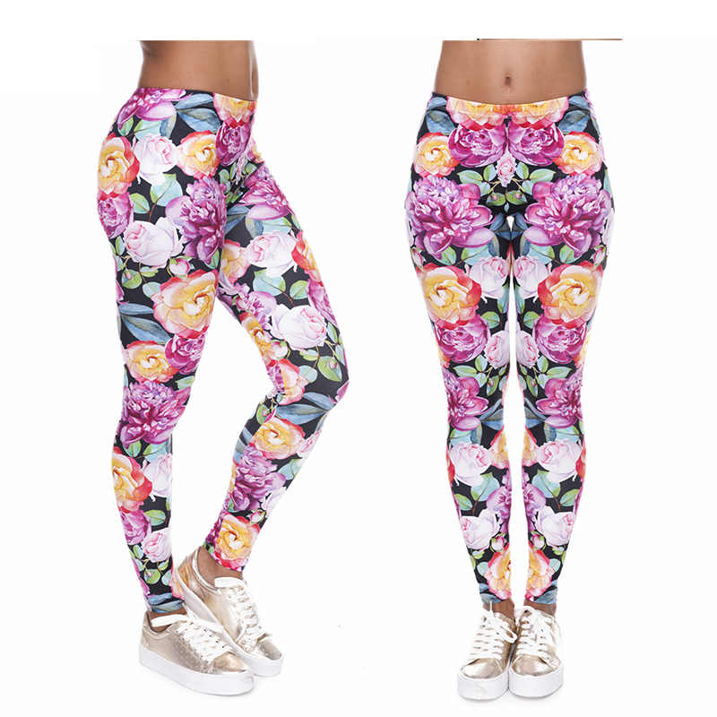 2019 Multicolor Flower Push Up Sexy Leggings Women Black High Waist Leggings For Women Summer Pink Womens Fitness Leggings Pants