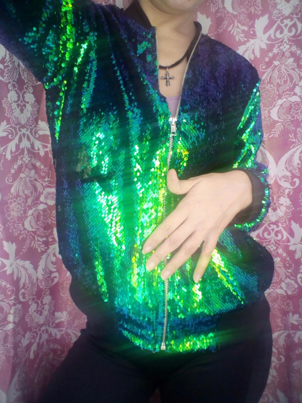 HYH HAOYIHUI Jesień Kobiety Cekiny Płaszcz Zielony Bomber Jacket Kurtka Z Długim Rękawem Zipper Streetwear Preppy Luźne Dorywczo Podstawowe Płaszcz 17