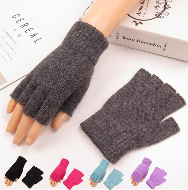 Autumn And Winter Women's Knitted Half Finger Gloves Girls Warm Fingerless Knitted Gloves Lady's Driving Gloves R433