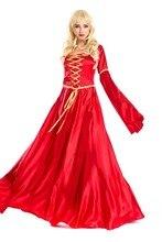 Largo de halloween dress para las mujeres el reino unido antiguos reina roja de noche dress carnaval fantasia adultos traje de cosplay de hadas