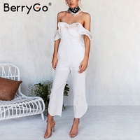 BerryGo Sexy backless off shoulder black jumpsuit women Tiered ruffle high waist jumpsuit romper Female casual overall femme 2