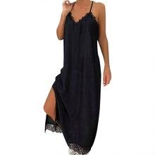 UZZDSS женское летнее богемное сексуальное однотонное кружевное платье без рукавов длиной до щиколотки на бретельках, праздничное платье, модный пляжный Сарафан