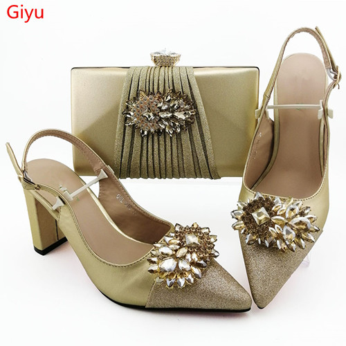 doershow gold Shoes and Bag To Match Italian Women Shoe and Bag To Match for Parties African Shoes and Bags Matching Set!SKO1-28