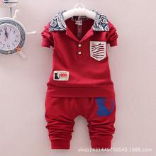 Hot 2016 Fashion Baby Kitten Cat Lapel Leisure Suit For Children Boys Girls Suit Newborn-baby-clothes Kids Clothing Set 0-3t Red