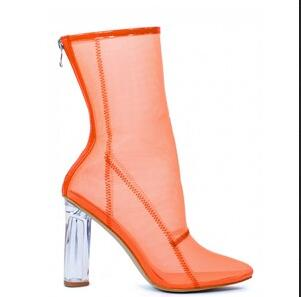 ab097f270 Hot Sale Boots Sexy Orange Clear Mesh Ankle Boots Perspex Transparent  Chunky High Heel Shoes Women Fashion Booties Sandals -in Ankle Boots from  Shoes on ...