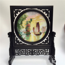 Joyous Double-side Suzhou Embroidery Ebony Stand  Decoration Ornaments Chinese Handicraft Home Decor Table Screen High End Gift