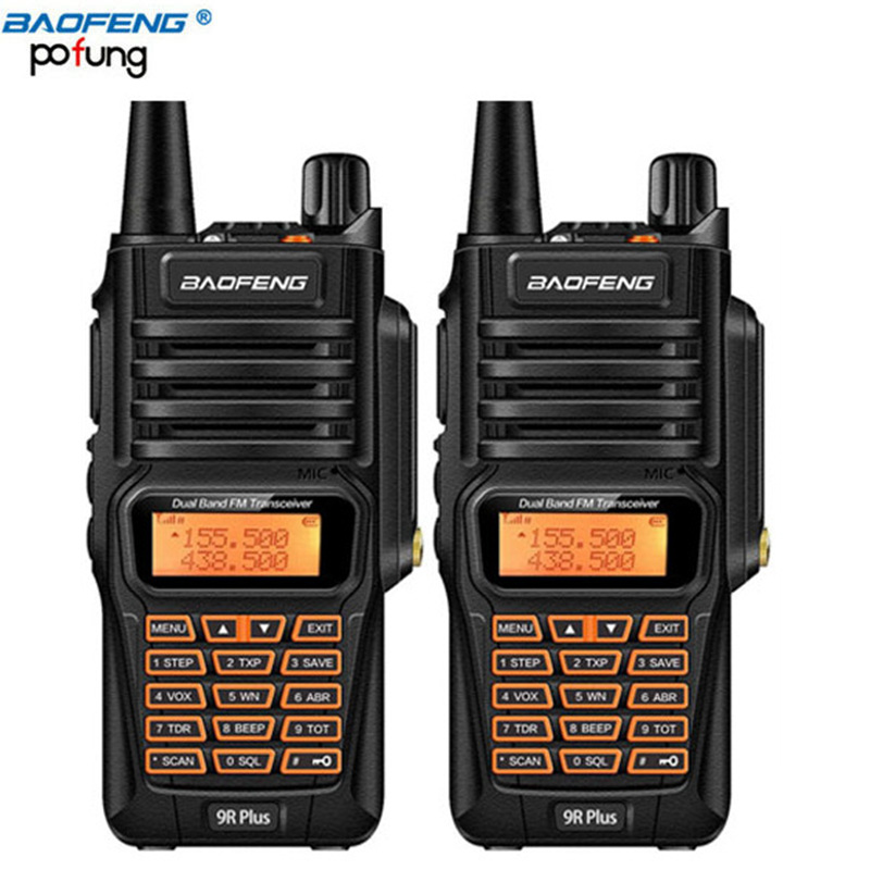 2 шт. Baofeng UV-9R плюс IP57 Водонепроницаемый Walkie Talkie 8 Вт Ham Портативный CB радио Pofung 8 Вт 10 км Long Range UV9R Охота радио