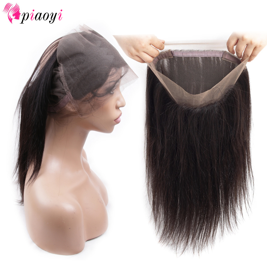 Piaoyi Pre Plucked Brazilian Straight Hair 360 Lace Frontal Closure With Baby Hair Remy Human Hair