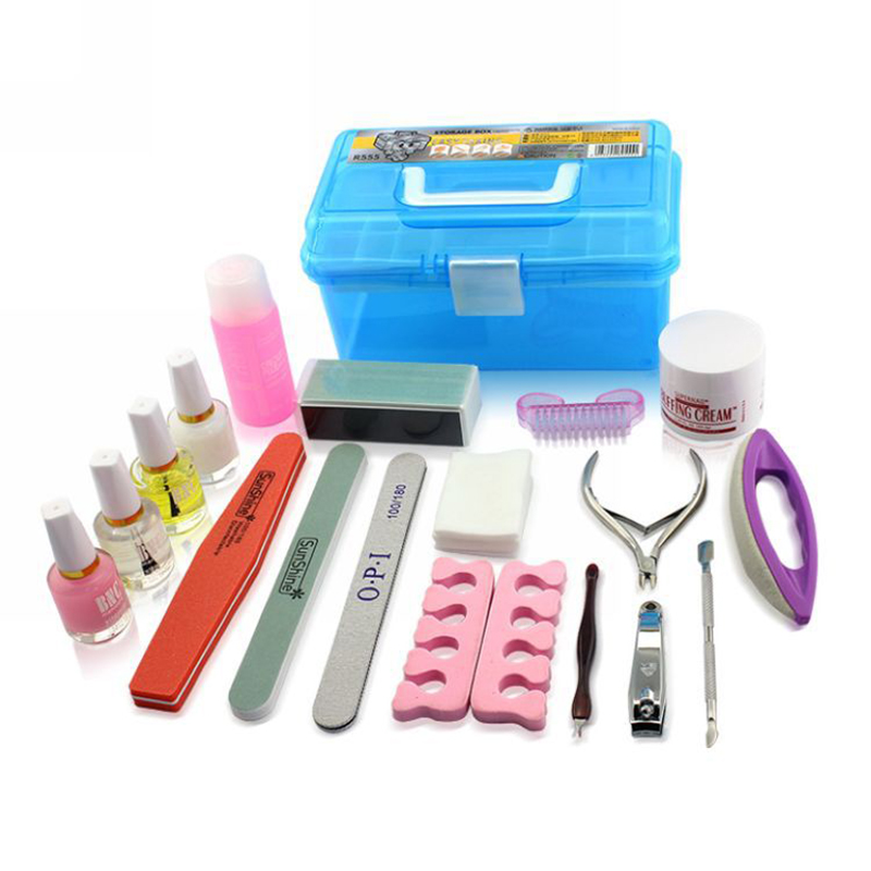 20pcs/set Nail File Set With Plastic Box Nail Buffers Block Manicure Buffer Tools For Professional Nail Art excellet value 1 pc blue medium 3 32 white ceramic nail drill bit manicure professional electric manicure cutter nail tools