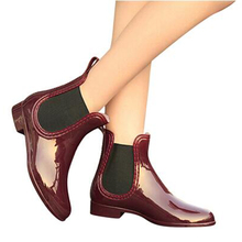 Rubber Boots 2017 Waterproof Trendy Jelly Women Ankle Rain Boot Elastic Band Solid Color Rainy Shoes Women WBS42