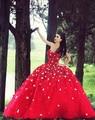 2016 elegante vestido de baile querida pavimento Length Red Organza Prom vestidos da princesa vestidos Quinceanera personalizado