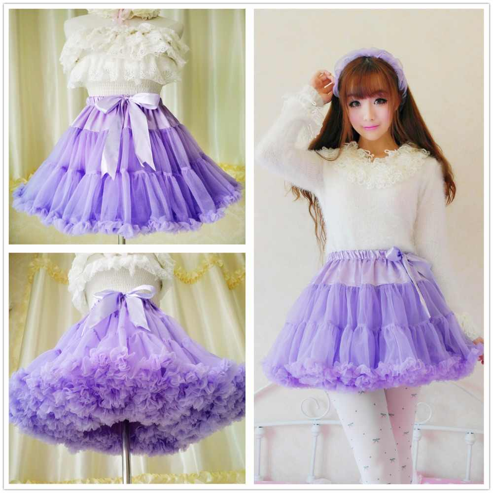 ab6a63ffa ... Princess sweet lolita skirts Soft yarn heavy petticoat voile mesh loli  cos mini solid Ball Gown ...