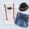 Розничная Новый 2017 лето baby boy костюм белая Футболка + подтяжк брюки детская одежда детская костюм