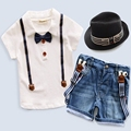 Retail New 2017 summer baby boy suit white T-shirt +suspender trousers kids clothes children suit