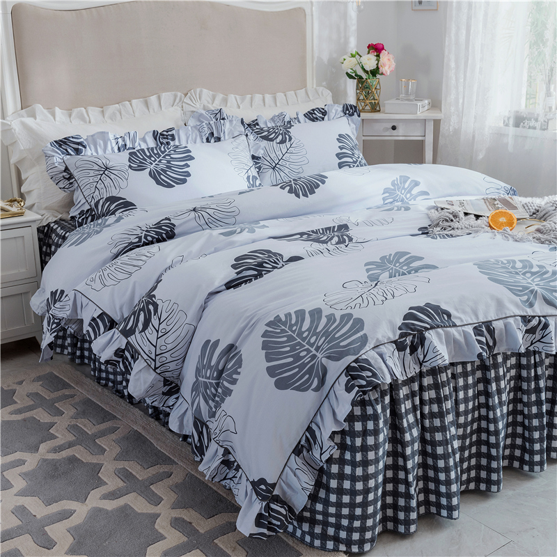 Europe luxury Bedding Set 40S white color duvet cover set king queen full twin size bed skirt set pillowcases leaves bedclothesEurope luxury Bedding Set 40S white color duvet cover set king queen full twin size bed skirt set pillowcases leaves bedclothes