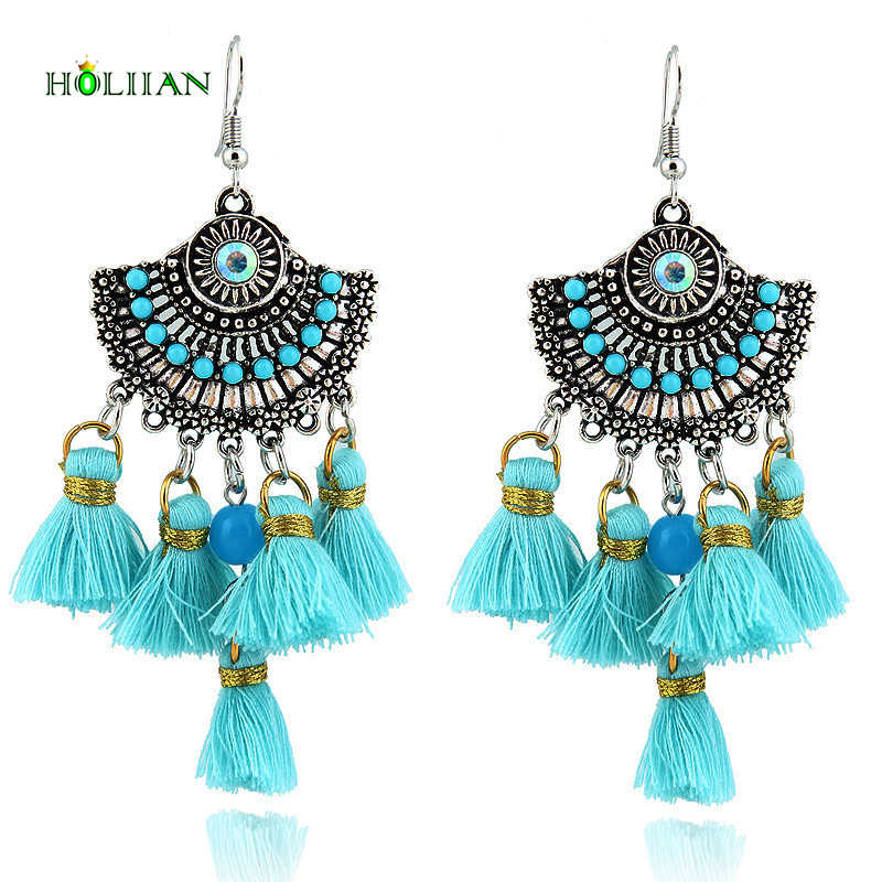1fc56eda14 Vintage silver earring with long tassel for women ethnic boho pendants  earrings fashion female bohemian tribal costume jewelry