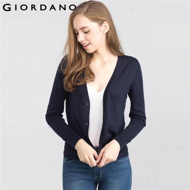 78ef3cc30926c Giordano mujeres suéter cardigan de rayas para mujer botón v-cuello de  manga larga de