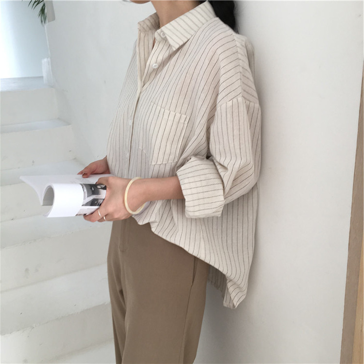 19 Mazefeng Spring Autumn Female Shirts Women Striped Shirts Office Lady Style Women Shirts Solid Fashion Long Sleeves 8