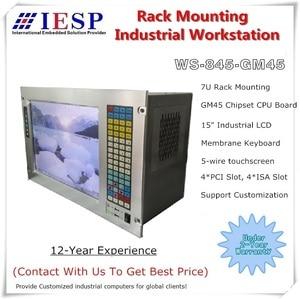 """Image 1 - 19 """"7U מתלה הר תעשייתי מחשב, 15"""" LCD, עם מסך מגע, Core P7550 מעבד, GM45 שבבים, 4 GB זיכרון RAM, 500 GB HDD"""