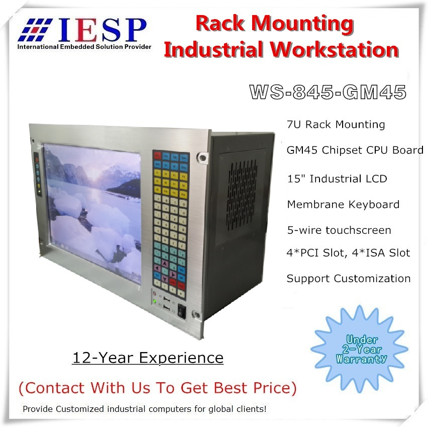 "19 ""7U rack-mount industriële computer, 15"" LCD, met touchscreen, Core P7550 CPU, GM45-chipset, 4 GB RAM, 500 GB HDD"