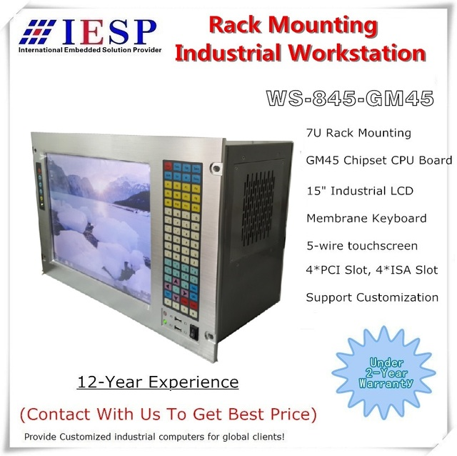 """19"""" 7U Rack Mount Industrial Computer, 15"""" LCD, with touchscreen, Core P7550 CPU ,GM45 chipset, 4GB RAM, 500GB HDD"""