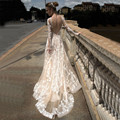 Sexy V Neck Boho Wedding Dresses 2017 Backless Lace Beach Wedding Dress Long Sleeve Bride Gown Robe De Mariage Vestido De Noiva