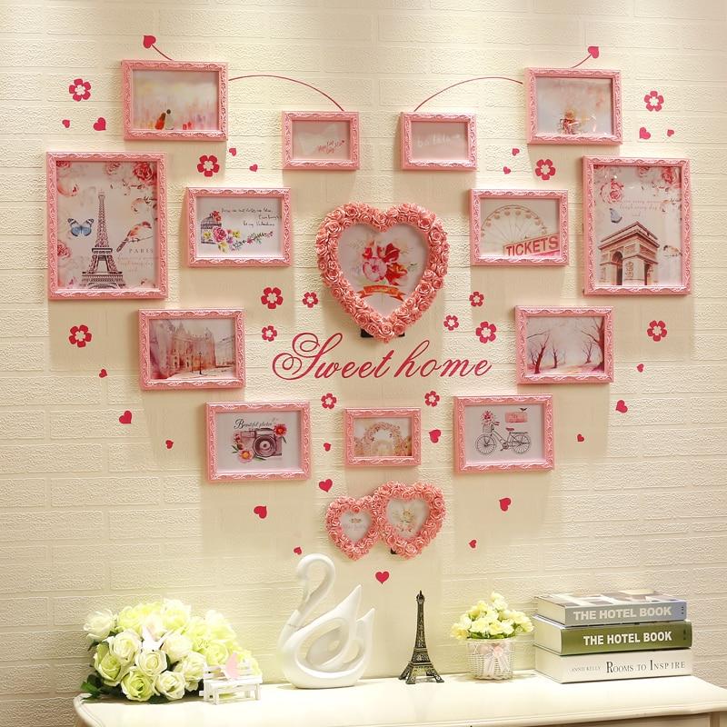 Pink White 15 Pcs Set Frames Carved