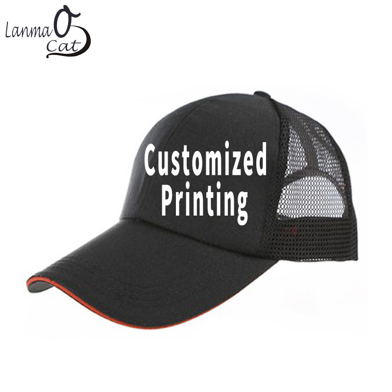 Lanmaocat Adjustable Men Women Summer Mesh Caps Personal Printed Mesh Sun Hats Design Custom Hat Snap Hats Free Shipping ...