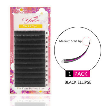 Yelix Black Flat False Eyelashes Extension Mink Eyelash Ellipse Fake Lashes Extension Split tips Natural Light Soft Lash