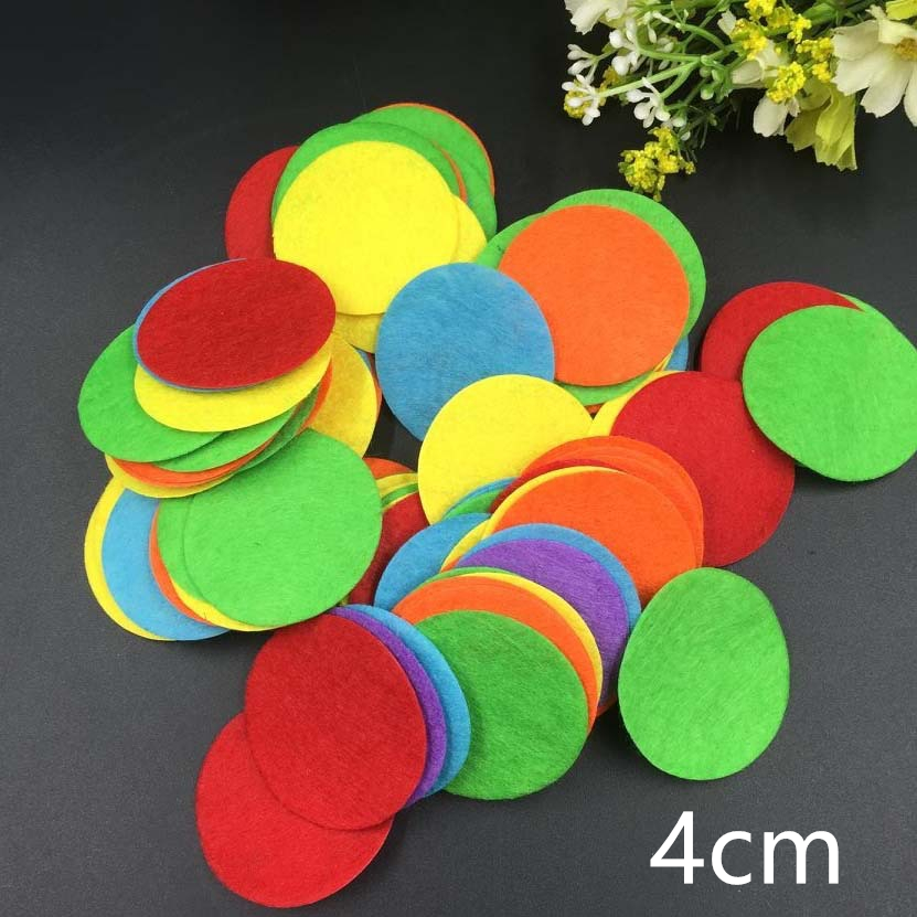 1000pcs/lot 4cm Appliqued DIY Round Felt Fabric Pads Accessory Patches Circle Fabric for flower/hat/handbag/clothe/craft Deaor