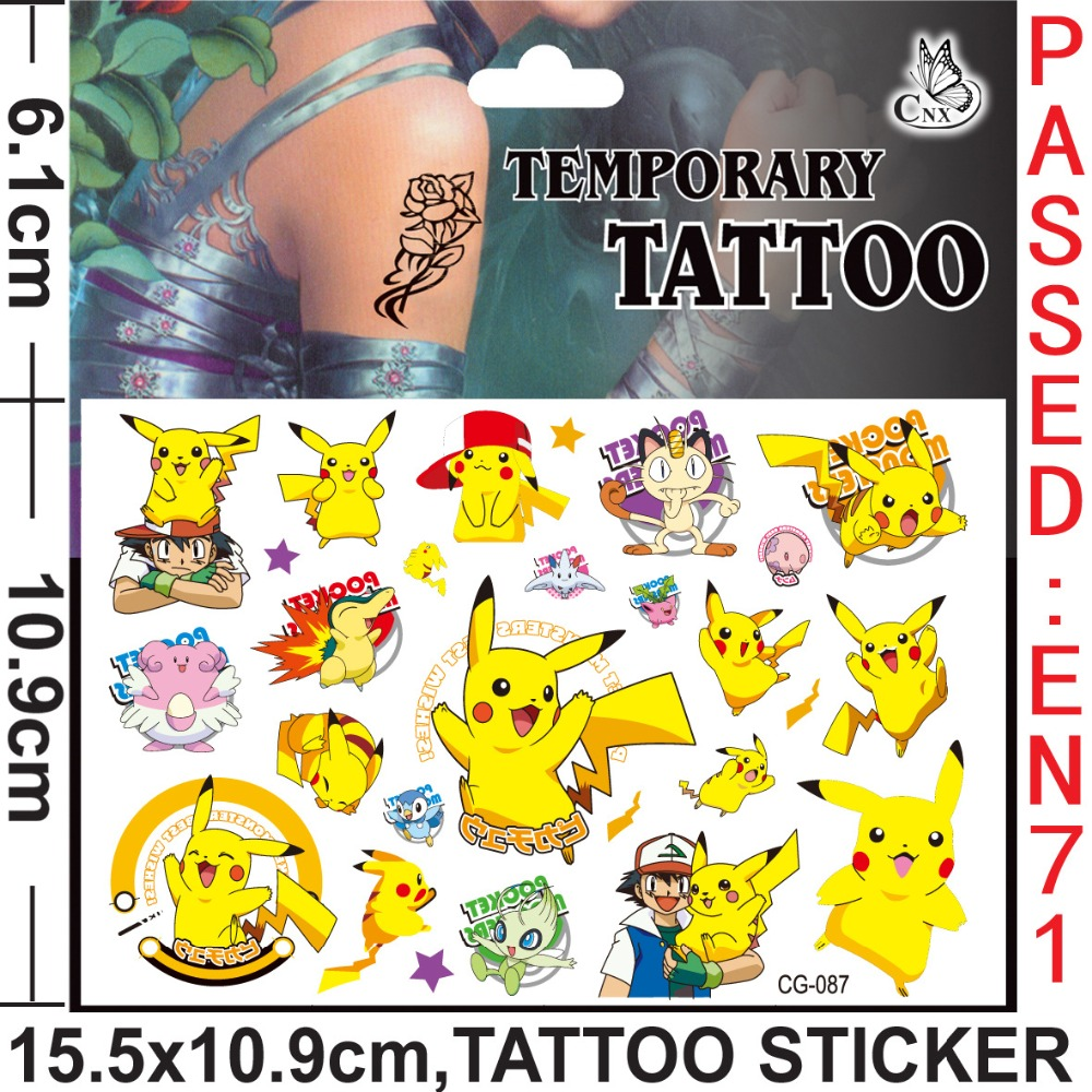 FREE SHIPPING Cute Yellow Winnie The Pool Bear Toys Kids Flash Cartoon Tattoo Sticker Movie TV Body Art Children