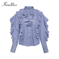 Kinikiss 2017 New Autumn Striped Blouse Female Falbala Patchwork Women Tops Single Breasted Office Fashion Spring