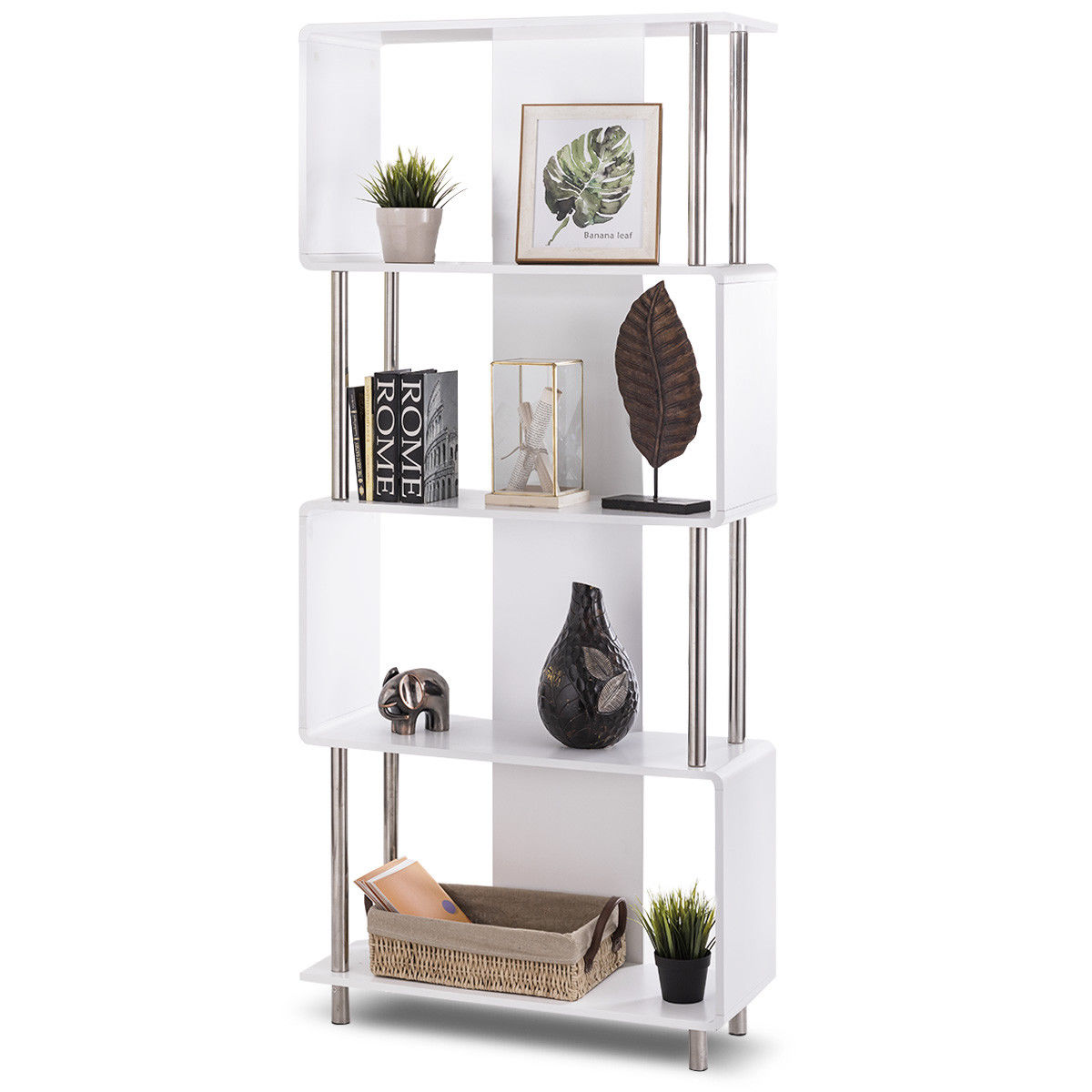 Giantex Industrial Style 4 Shelf Modern Bookcase Living Room Storage Display Unit Bookshelf White Home Furniture HW56698