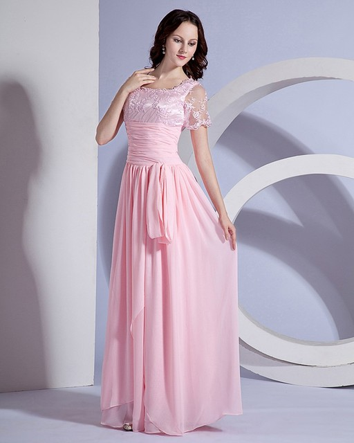 Floor length natural none A line long pale pink lace chiffon ...
